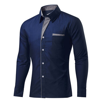 Mens Fashion Casual Stitching Color Slim Fit Long Sleeve Spring Autumn Turn-down Shirt 11 Colors