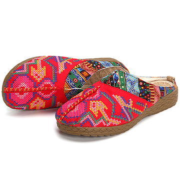 Women Flax Casual Outdoor Embroidery Flat Slipper Shoes