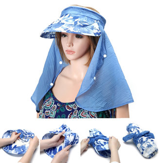 Anti-UV Women Folding Beach Sun Hat Wide Brim Face Nack Protactive Outdoor Gardening Visor Cap