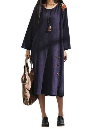 Vintage Women Floral Patchwork Lange Mouwen Chinese Knoop Buckle Split Hem Dress