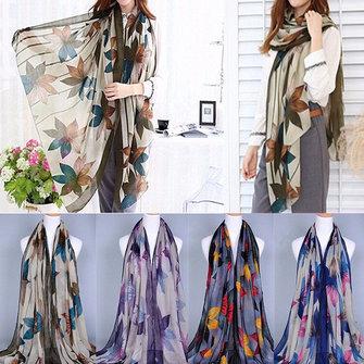 ผู้หญิงสุภาพสตรีสุภาพสตรีดอกไม้พิมพ์ลายผ้าพันคอที่มีสีสัน Stole Shawl Wrap Scarf