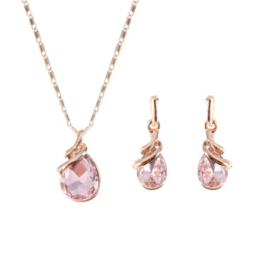 Rose Gold Jewelry Set Pink Drop Rhinestone Pendant Necklace Unique Spiral Shape Earrings for Women