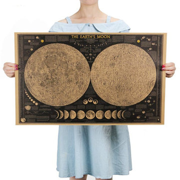Large Vintage Retro Paper Earth Moon World Map Poster Wall Chart Home Decoration Wall Sticker