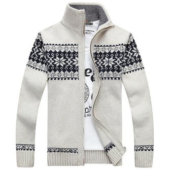 Winter Warm Thick Stand Collar Sweater Mens Casual Knitted Zipper ...