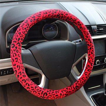 Coche lleno leopardo cubierta del volante de impresión invierno caliente corta 38cm agarre de la felpa