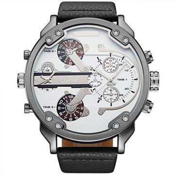 OULM HP3548 시계 가죽 시계 밴드 두 시간대 스포츠 캐주얼 쿼츠 시계