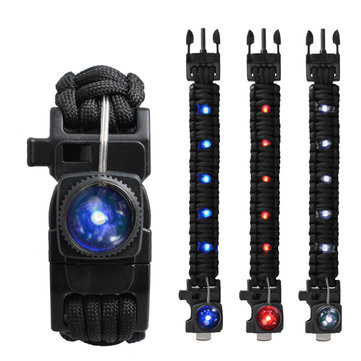 Outdoor EDC Survival Led Armband 550 Paracord Gebreide polsband met Whistle Camping Emergency Tool