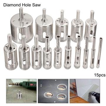 Drillpro DB-HS1 15pcs 6-50mm Diamond Hole Saw boor Stel Tile keramische Marble Boren