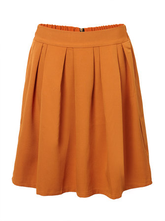 Elegant Brief Women Solid Zipper Elastic Waist Knee Length Pleated Skirt