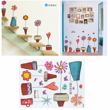 Цветок растение в горшке стикер стены гостиной украшения дома творческой деколи поделки росписи стены искусства