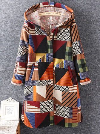 Casual Women Long Sleeve Geometric Printed Winter Hooded Coat