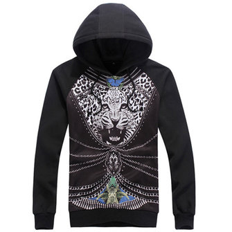Heren Spring Fashion Leopard Printing Hooded Sweatshirt