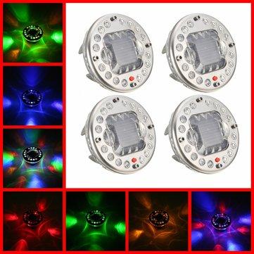 4pcs LEDソーラーエネルギーRGBフラッシュ車のタイヤバルブキャップライト付きリモコン