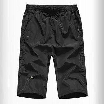 กางเกงหลวมๆของผู้ชายสวมใส่สบาย-ทนต่อการเป่าแห้งได้อย่างรวดเร็วกีฬาวิ่งCapri กางเกง