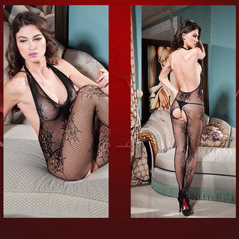 Transparent Halter Open Crotch Backless Bodystocking