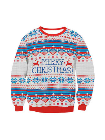 Plus Size Casual Women O-Neck Christmas Sweatshirts