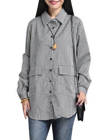 Casual Vrouwen Losse Plaid met lange mouwen revers Pocket Blouse
