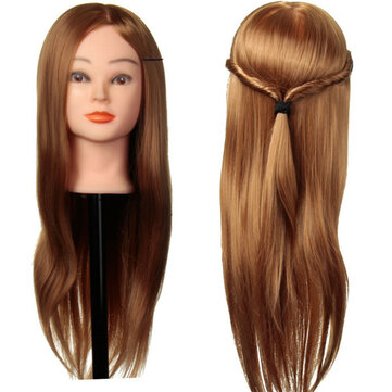 30% Real Human Hair Training Head Cutting Braiding Practice Mannequin Clamp Holder Gold