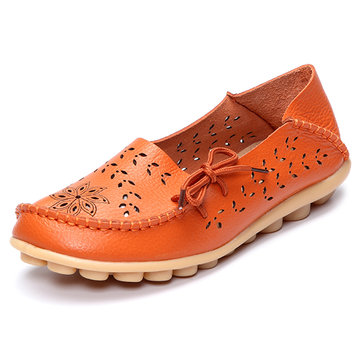 large size floral hollow out comfy shoes casual lace up