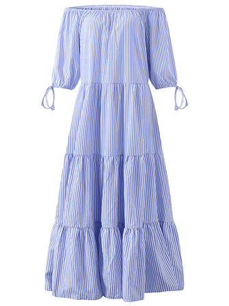 Women Sexy Off the Shoulder Dresses Blue Stripe Summer Maxi Dresses