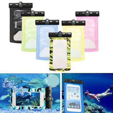 Waterproof IPX8 Underwater Pouch Bag Case Cover + Compass For 3.5-inch To 6-inch CellPhone