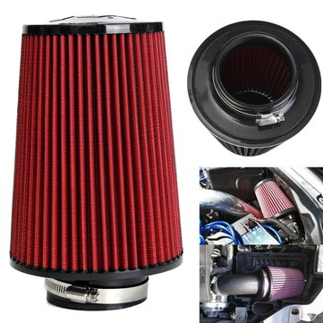 High Flow Car Cold Air Intake Filter Tapered Cone Cold Air Cleaner 3 Inches Red