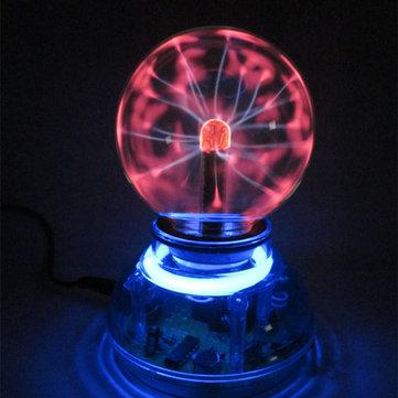 3 Inches USB Cable Plasma Ball Sphere Lightning Light Magic Crystal Lamp Globe Laptop Blue Base