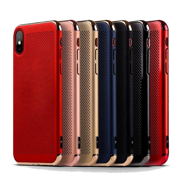 3 in 1 Dubbele Dip Plating Mesh Dissiperende Hitte Hard PC Cover Case voor iPhone X