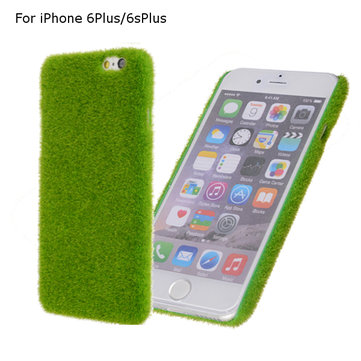 Novelty Green Grass Lawn Plush Hard Plastic Case Green Turf Case Cover For iPhone 6Plus 6sPlus 5.5