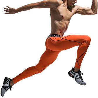 Mens Fashion Line Running High-elastic Tight Pants Fitness Pants Quick-drying Basketball Leggings