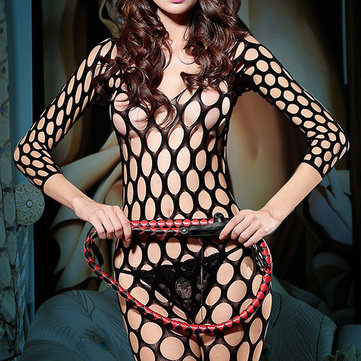 Hollow Out Big Hole Double V Sexy Hosiery Bodystocking