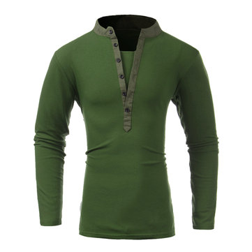 Men Fall Cotton Polyester Solid Pure Color Button V-neck Long Sleeve T-shirt
