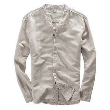 Mens Casual V Neck Long Sleeve Slim Fit White Linen Shirts