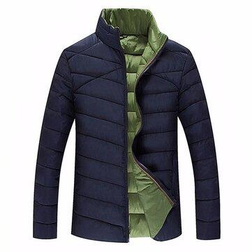 Mens Plus Size S-6XL Winter Warm Zipper Stand Collar Padded Jacket
