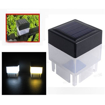 Solar Powered LED Square White Light For Fence Post Pool Garden Outdoor Decor
