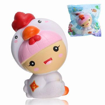 Ragazza della fabbrica di Squishy che porta il bambino del pollo del costume del pulcino 11cm che aumenta lentamente con il regalo del regalo di imballaggio