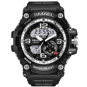 SMAEL 1617 LED Montre numérique Digital Analog Dual Display Mouvement japonais Men Watch