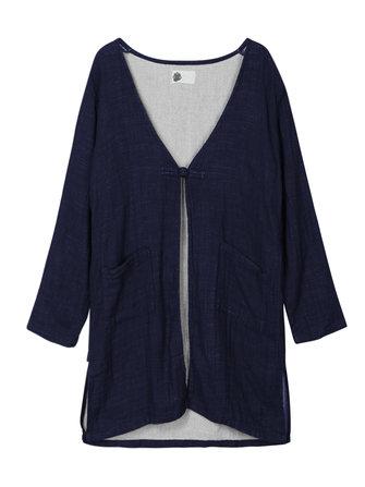 Women Vintage Long Sleeve Loose Cotton Cardigan Jacket