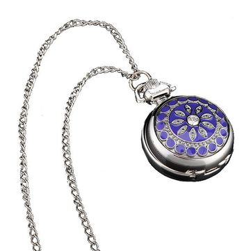 Silver Classic Crystal Quartz Pocket Watch with Necklace for Gift