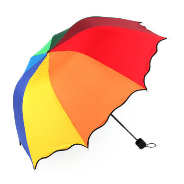 Honana HN-KU5 Multicolor Flouncing Dome Parasol Folding Umbrella Sun Rain Wind for Lady Girls