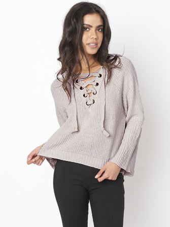 Casual Women V-Neck Lace Up Flared Sleeve Irregular Knit Sweaters