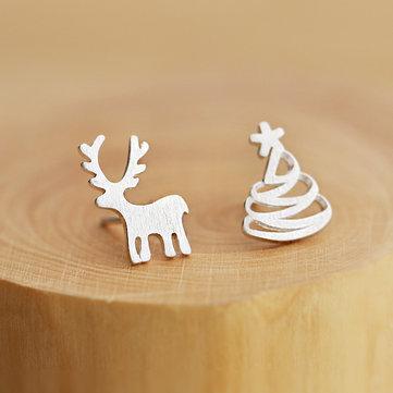 925 Серебряная олень Рождественская елка Провод Рисование Асимметричная Серьги