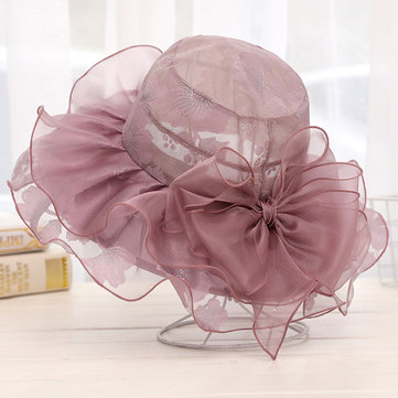 Buy Women Fashion Lace Printting Wide Brimmed Hat Packable Beach Bucket Hats Sunbonnet With Bowknot for $12.88 in Banggood store