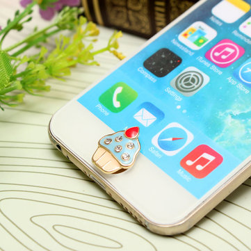 3D Leuke Ice Cream Shape Home Button Sticker Voor iPhone iPad iPod