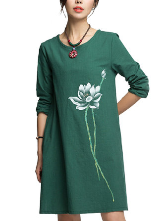 Women Loose Lotus Flower Ink Printing Brief Pockets Flax Dress
