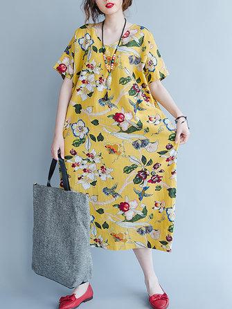 ZANZEA Kısa Kollu Çiçekli Gevşek V yakalı Cep Kadın Elbise