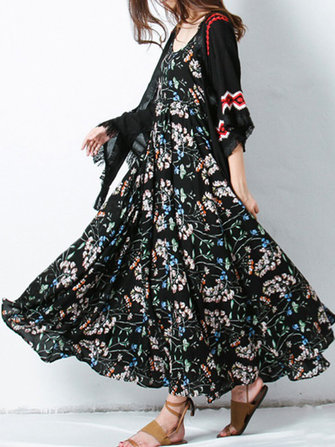 Vintage Women Floral Printed Spaghetti Strap Maxi Swing Dress