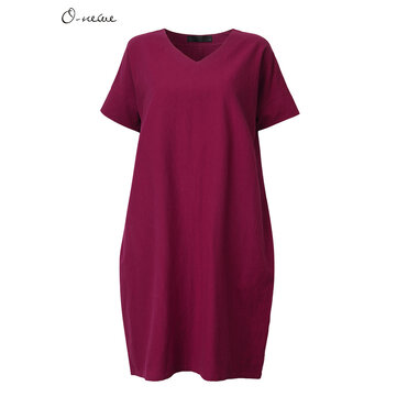 O-Newe L-5XL Women Loose Pure Color Bat Sleeve Lantern Dress