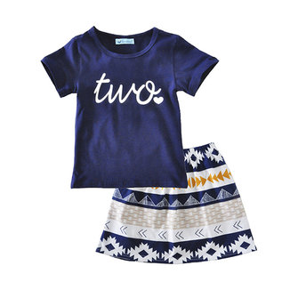 Kid Girls Cute Letter Heart Printed Short Sleeve T-Shirt Geometric Print Skirt Set