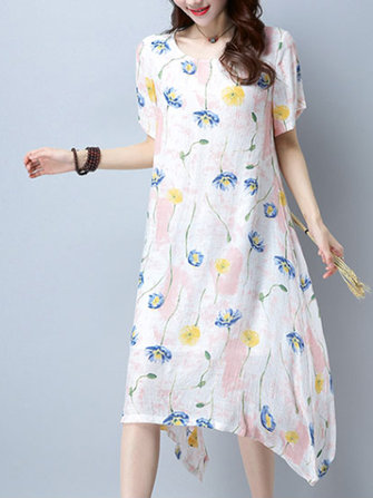 Casual Women Floral Printed Short Sleeve Irregular Hem Midi Dress